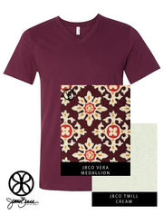Maroon V-Neck With Vera Medallion On Cream Twill - JennaBenna Sorority