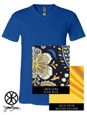 Royal V-Neck With Vera Ellie Blue On Butter Yellow Satin - Sorority Apparel