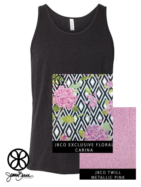 Black Unisex Tank With Floral Carina On Metallic Pink Twill - Sorority Apparel