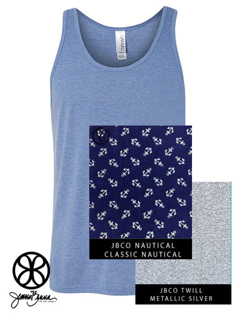 Blue Triblend Unisex Tank With Classic Nautical On Metallic Silver Twill - JennaBenna Sorority