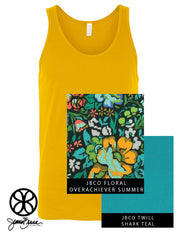 Gold Unisex Tank With Floral Overachiever Summer On Shark Teal Twill - Sorority Apparel