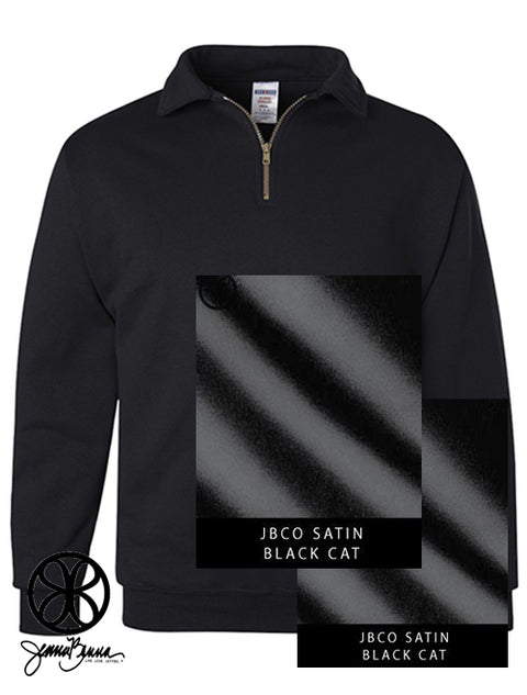 Black Quarter Zip With Black Cat Satin On Black Cat Satin - Sorority Apparel