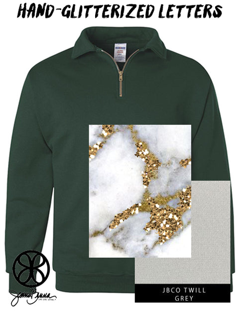 Forest Green Quarter Zip With Hand Glitterized Marble Majestic White Gold On Grey Twill - Sorority Apparel