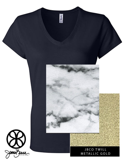 Navy  Slim V Neck With Marble Bianco Venato On Metallic Gold Twill - JennaBenna Sorority