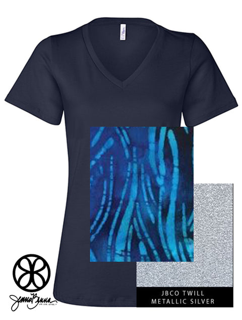 Navy  V Neck With Batik Tropical Water On Metallic Silver Twill - JennaBenna Sorority