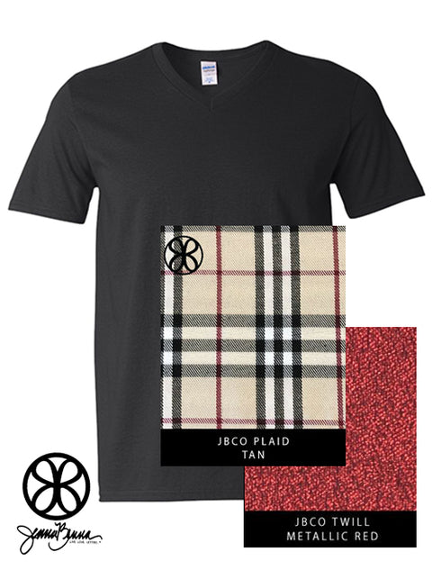 Black V-Neck With Plaid Tan On Metallic Red Twill - Sorority Apparel