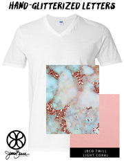 White V Neck With Glitterized Marble Goldrush Sky On Light Coral Twill - JennaBenna Sorority