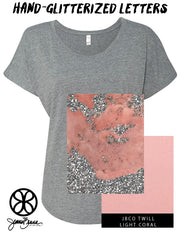 Premium Heather Slouchy Tee With Hand Glitterized Marble Silvermine Pinky Peach Ice On Light Coral Twill - JennaBenna Sorority