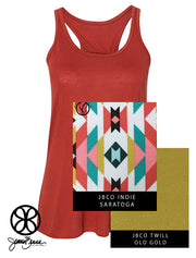 Brick Flowy Tank With Indie Saratoga On Old Gold Twill - JennaBenna Sorority