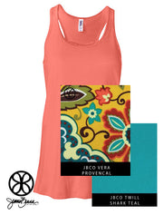 Coral Flowy Tank With Vera Provencal on Shark Teal Twill - JennaBenna Sorority