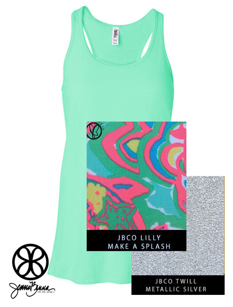 Mint Flowy Tank With Lilly Make A Splash on Metallic Silver Twill - JennaBenna Sorority