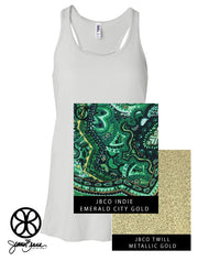 White Flowy Tank With Indie Emerald City Gold On Metallic Gold Twill - JennaBenna Sorority