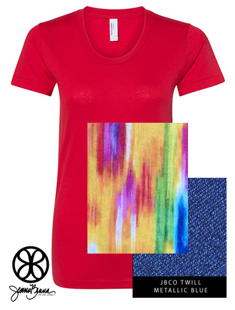 Red Crewneck With Color Luscious Vivid Abstract Warm On Metallic Blue Twill - JennaBenna Sorority
