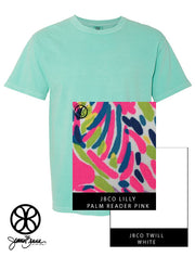Chalky Mint Crewneck With Lilly Palm Reader Pink On White Twill - JennaBenna Sorority