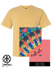 Mustard Crewneck With Color Luscious Kaleidoscope On Dark Coral Twill - Sorority Apparel