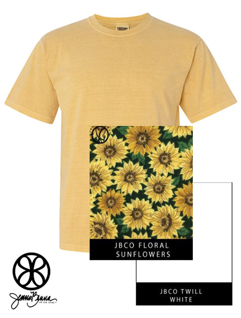 Mustard Crewneck With Floral Sunflowers On White Twill - JennaBenna Sorority