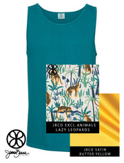 Topaz Blue Tank With Lazy Leopards On Butter Yellow Satin - Sorority Apparel