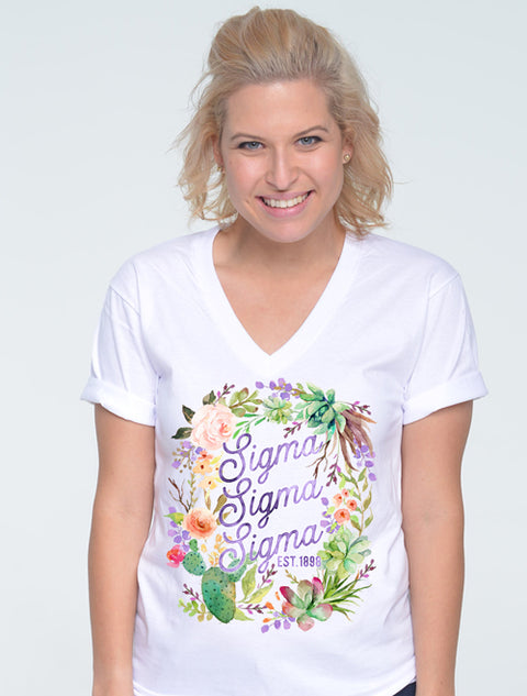 Sallie Jackson Michie's Floral Wreath Sorority Printed Shirt - Sorority Apparel