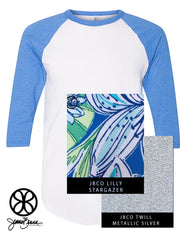 White/Heather Lake Blue American Apparel Unisex 3/4 Sleeve Raglan + Lilly Stargazer - JennaBenna Sorority
