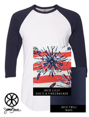 White/Navy American Apparel Unisex 3/4 Sleeve Raglan + Lilly She's A Firecracker - Sorority Apparel