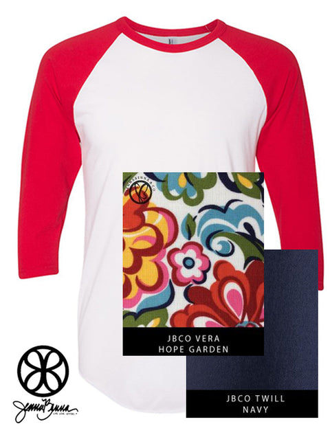 White/Red American Apparel Unisex 3/4 Sleeve Raglan + Vera Hope Garden - JennaBenna Sorority