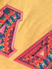 Mustard Crewneck With Color Luscious Kaleidoscope On Dark Coral Twill - JennaBenna Sorority