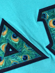 Lagoon Blue Tank With Indie Peacock Feathers On Navy Blue Twill - Sorority Apparel
