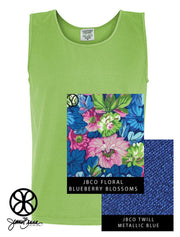 Lime Comfort Colors Unisex Tank Top + Floral Blueberry Blossoms - JennaBenna Sorority