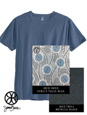 Deep Sea Blue District Unisex Slub Crewneck Tee + Sybil's Tulle Blue - Sorority Apparel