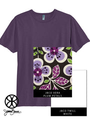 Eggplant District Unisex Slub Crewneck Tee + Vera Plum Petals - JennaBenna Sorority