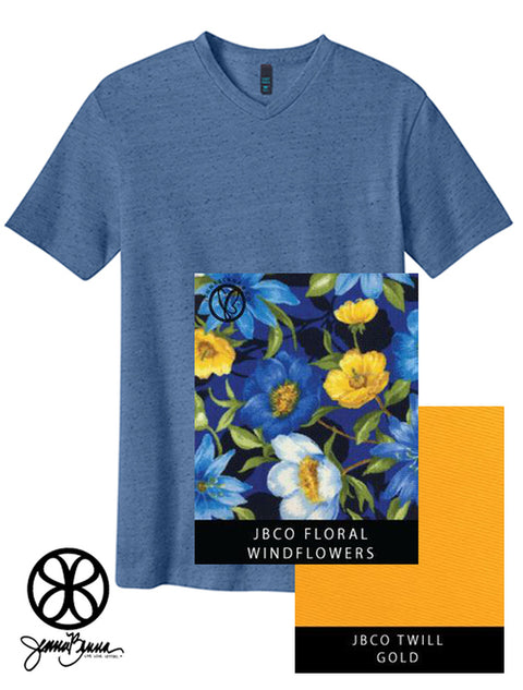 Denim Blue District Unisex Textured Notch Crew Tee + Windflowers Floral - JennaBenna Sorority