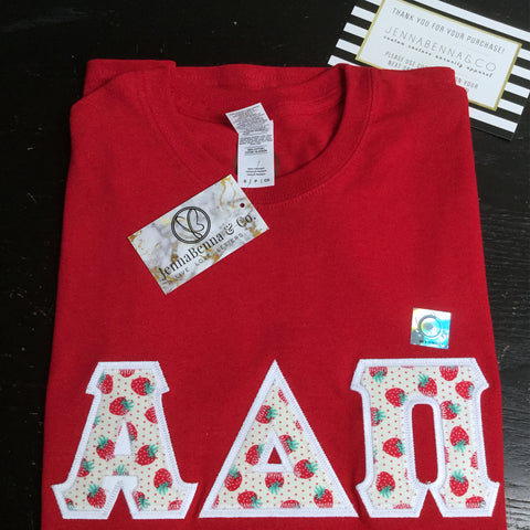Red Crewneck With Berries And Dots On White Twill - JennaBenna Sorority