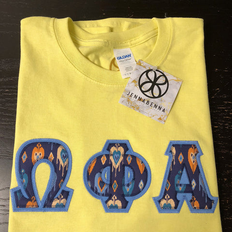 Cornsilk Crewneck With Indie Cupid Toots Blue On Columbia Blue Twill - Sorority Apparel