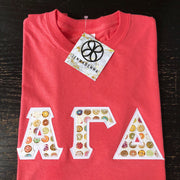 Coral Silk Crewneck With Donuts White On White Twill - JennaBenna Sorority