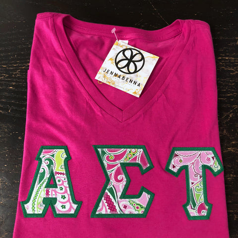 Berry V-Neck With Vera Pinwheel Pink On Kelly Green Twill - Sorority Apparel