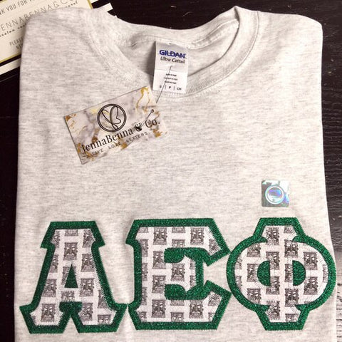 Alpha Epsilon Phi Exclusive Crest Perfect Combo Tee - JennaBenna Sorority