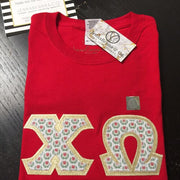 Chi Omega Exclusive Crest Fabric Perfect Combo Tee - JennaBenna Sorority