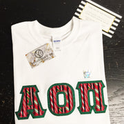 White Crewneck With Christmas Candy Canes On Metallic Green Twill - JennaBenna Sorority