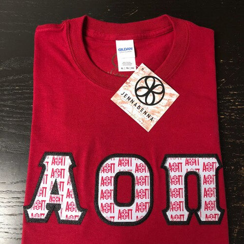 Alpha Omicron Pi Exclusive Logo Fabric Letter Tee - JennaBenna Sorority