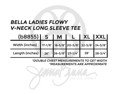 Bella Ladies Flowy V-Neck Long Sleeve Tee - JennaBenna Sorority