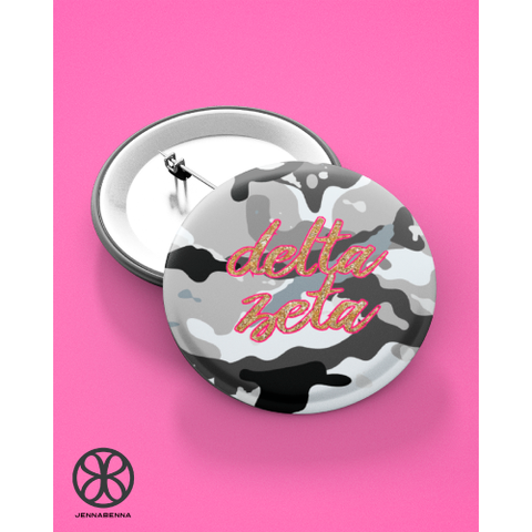 Grey Camo Button With Pink And Gold Greek Font - JennaBenna Sorority