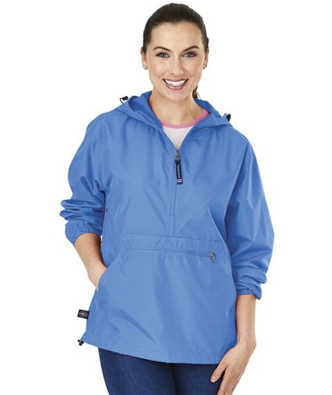 Fabric Greek Letter Barb Solid Color Unlined Anorak Jacket - JennaBenna Sorority