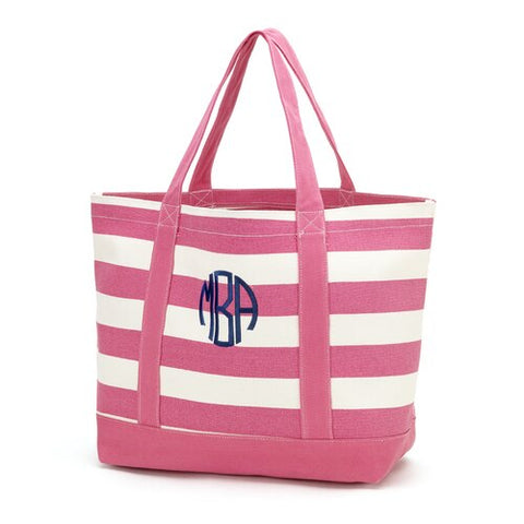 Pink Wide Stripe Emboridered Beach Boat Tote - JennaBenna Sorority