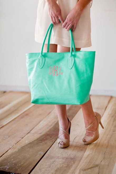 Mint Elise Vegan Leather Embroidered Tote - JennaBenna Sorority