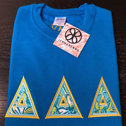 Sapphire Crewneck Sweatshirt With Lilly Sorority Delta Delta Delta On Maize Twill - JennaBenna Sorority