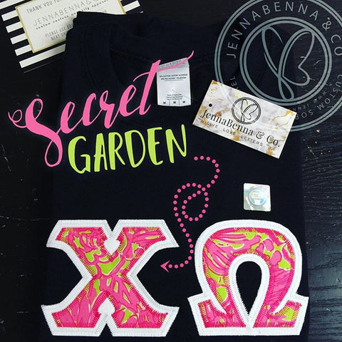 Black Crewneck With Lilly Secret Garden On White Twill - JennaBenna Sorority