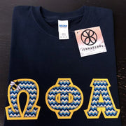 Omega Phi Alpha Chevron Perfect Combo Tee With Embroidered Bee - JennaBenna Sorority