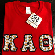 Red Crewneck With Taco Sam On Black Twill - JennaBenna Sorority
