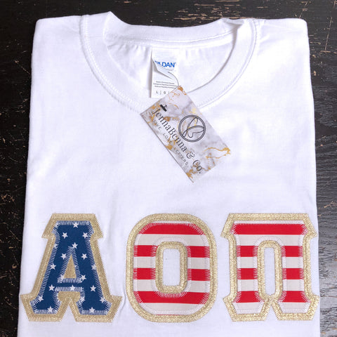 White Crewneck With American Flag On Metallic Gold Twill - JennaBenna Sorority