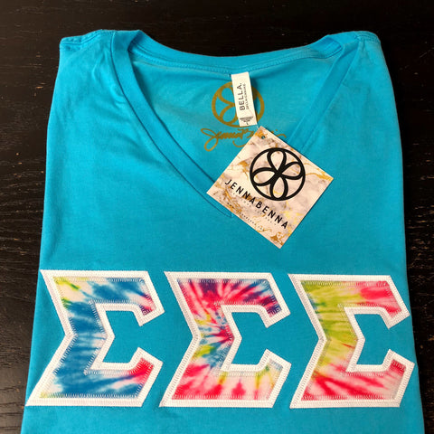 Turquoise V-Neck With Tie Dye Summertime On White Twill - Sorority Apparel